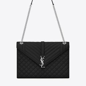SAINT LAURENT Large Envelope Chain Bag In Black